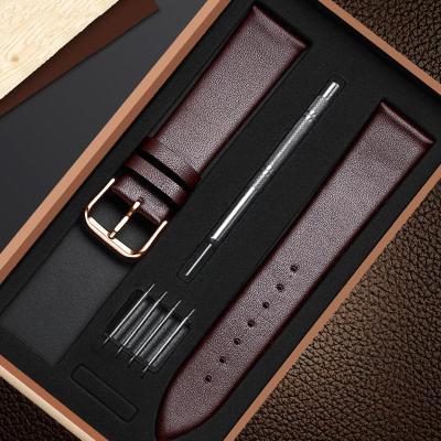 【新品特惠】手表帶配件男士真皮平紋手表女學生韓版簡約通用針扣手表表鏈