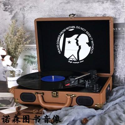 留聲機復古 客廳 歐式手提便攜黑膠唱片機電唱機老唱機帶U盤收音