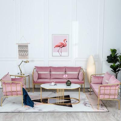 后現代輕奢家具服裝店北歐鐵藝沙發ins網紅椅子工作室奶茶幾組合