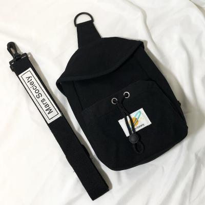 男士胸包2020新款潮女ins超火潮牌小號帆布斜挎包運動個性單肩包 黑色【大號】收藏送小禮物