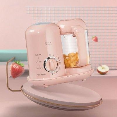 babycare 寶寶輔食機料理機 蒸煮攪拌一體機 攪拌機嬰兒迷你輔食機 檳粉-定時款 4526