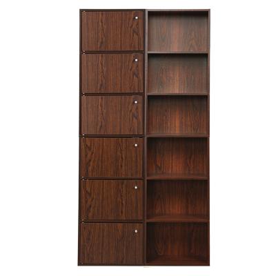 慧乐家六层带门书柜深红樱桃木色套装(11323 +11306 )