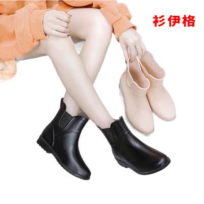 雨鞋女時尚百搭雨鞋女短筒成人水靴雨丁靴中筒套加絨保暖防滑水鞋 衫伊格(shanyige)