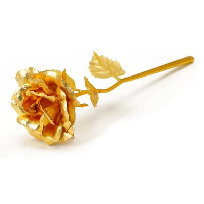 佰黛 金色箔玫瑰花 送人 擺件 生日禮物送女友朋友老婆情人節浪漫創意的禮品金箔玫瑰花 藍色紅色金色 大號全開玫瑰花不凋謝
