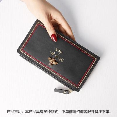 搭扣卡包女多卡位超薄小巧牛皮钱包一体2019新款时尚潮大容量【定制】 黑色