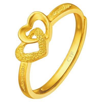 周大福珠宝首饰心相印足金黄金戒指女款计价(工费48元)F152998