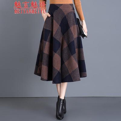 魅言魅語2020秋季復古格子半身裙女大碼高腰毛呢蓬蓬裙a字大擺傘裙