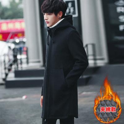 男士中长款加棉风衣男连帽冬季修身加厚呢子大衣男毛呢外套