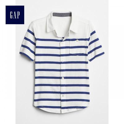 Gap男童夏季短袖襯衫436307 E 潮童上衣兒童條紋襯衣