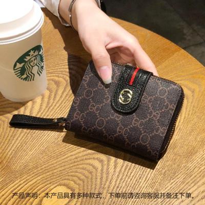欧美时尚短款小钱包女拉链印花牛皮多卡位卡包搭扣驾驶证钱夹【定制】 黑色