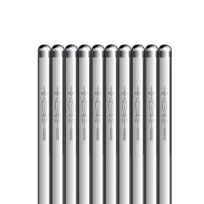 雙槍筷子家用防霉防滑官方旗艦店筷子10雙裝316不銹鋼筷子套裝年年有余圓筷