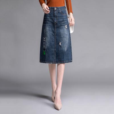 丝柏舍2019年秋季女时尚简约修身显瘦牛仔半身裙S93P0011B