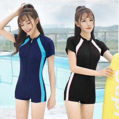 泳衣女专业运动款小胸连体平角保守修身遮肚显瘦大码学生泳装温泉