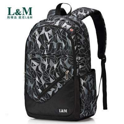 L&M 书包 书包男小学生中学生高中生书包男初中生大学生背包男双肩包女潮流韩版电脑包15.6寸旅行包 书包