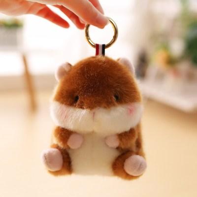 【精品好貨】可愛倉鼠書包掛件熊貓兔子小公仔包包吊墜毛絨玩具小號娃娃女 棕色倉鼠 13厘米球球掛件