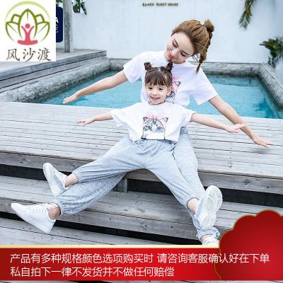 亲子装一家三口母女装 洋气四口母子t恤夏装网红时尚图片件数为展示