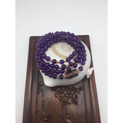 天然乌拉圭紫水晶项手串