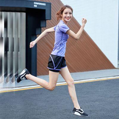 【1/2件】夏季瑜伽服短袖上衣女速干運動套裝女健身服初學者威珺