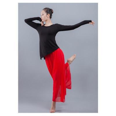 因樂思(YINLESI)飄逸雪紡現代舞練功服褲古典舞服女舞蹈演出服民族舞服舞蹈闊腿褲 白色 均碼