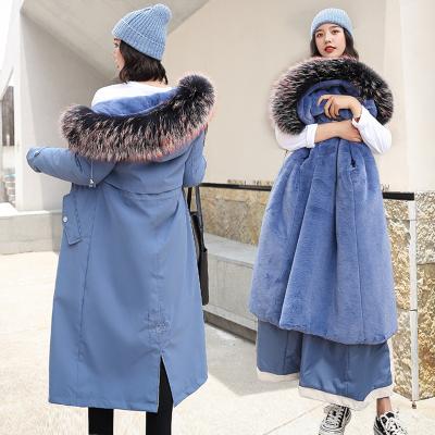 佐露絲RALOS加绒内里派克服女中长款2020冬季新款大码女装两穿仿羊毛羔棉服外套