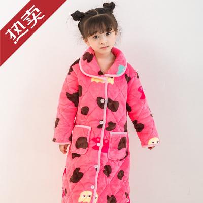 迪士尼官方旗艦店兒童浴袍珊瑚絨女童睡袍法蘭絨秋冬季加厚小孩寶寶中大童夾棉睡衣小孩子的
