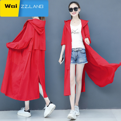 長款防曬衣女士2020年夏季新款時尚輕薄過膝風衣防紫外線開衫外套 WaiZZ