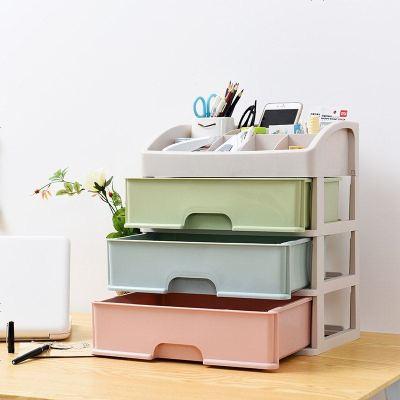 歐式化妝品收納盒塑料抽屜式桌面整理盒儲物盒梳妝臺護膚品置物架