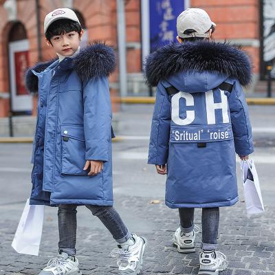 TOGOLUNE儿童羽绒服2019冬季新款男童韩版中长款加厚大毛领童装外套批潮