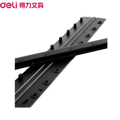 得力(deli)3831 20mm装订夹条黑色100支/盒10孔装订夹 装订押条 压边条 胶圈装订夹边条塑料夹条
