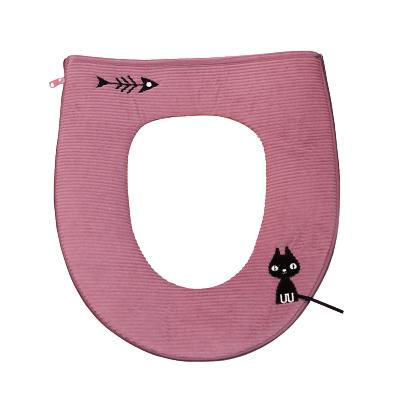 绿之源 拉链式马桶垫子浴室保暖加厚马桶套吸汗厕所垫坐便垫(小馋猫粉色)Z-1880