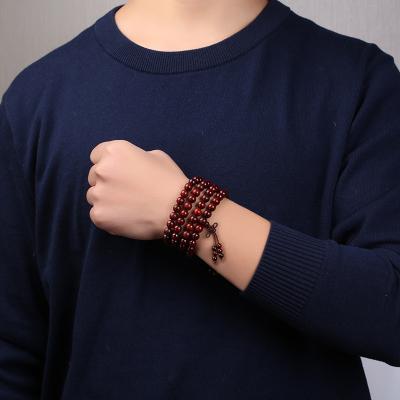 月印百川 小葉紫檀108顆手串男女款多層多圈天然木飾佛珠手鏈