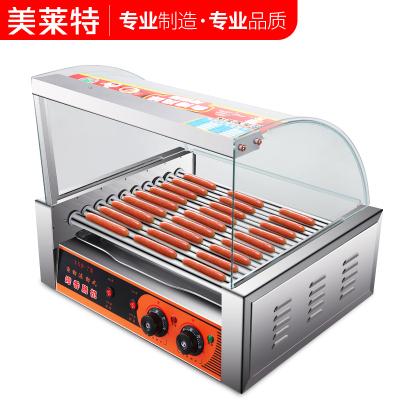 美萊特YXD-10臺灣香腸機全自動雙溫控熱狗機小型商用10管烤腸機 10管不帶門