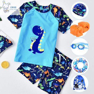 【廠家直供】兒童泳衣男童泳褲分體套裝寶寶中大童男孩泳裝小童卡通恐龍游泳衣兒童泳裝瑞希羅