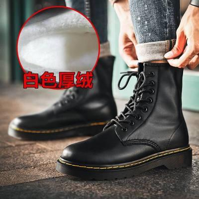 dr马丁靴男中帮短靴子高帮工装黑色靴男加厚加绒棉鞋