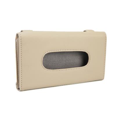 博利良品車載紙巾盒掛式 汽車遮陽板抽紙盒 車內天窗椅背餐巾紙抽盒 BL1621米色