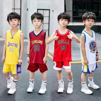 (送三件套)好质量夏季儿童新款小中大童篮球服套装背心透气运动服