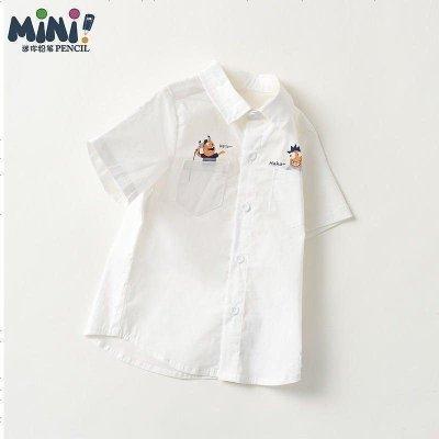 鉛筆俱樂部童裝2020夏裝新款男童短袖襯衫男小童翻領上衣兒童襯衫