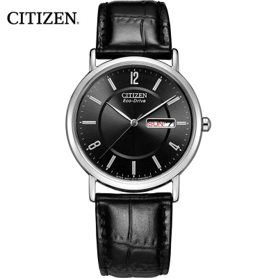 西铁城(CITIZEN)手表男日本 光动能简约黑皮表带商务休闲男表BM8240-03E