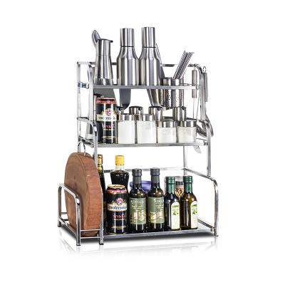 四季沐歌(MICOE)不銹鋼廚房置物架臺面刀架瀝水多功能調味品調料收納架子