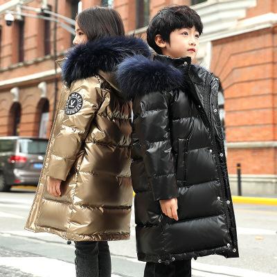 花样童依儿童羽绒服中长款2019冬季新款男女童大毛领童装亲子外套