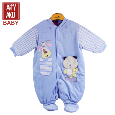 環保天然純棉衣襟排扣方便新生嬰兒穿脫有帽可拆包腳連體衣三件套童裝外套日本嬰童服飾aityaku新潮款廠家去庫存特惠