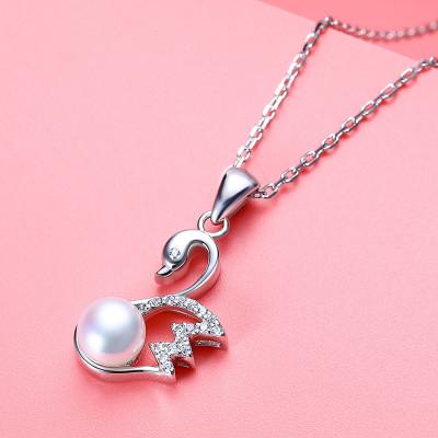 佰色傳情(BRIR)小天鵝項鏈女925純銀鑲嵌淡水珍珠簡約韓版鎖骨鏈銀項鏈女珍珠吊墜生日情人節禮物送女友送愛人