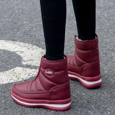 2019新款冬季妈妈鞋加绒棉鞋中老年雪地靴女防滑女短靴防水保暖鞋 诺妮梦