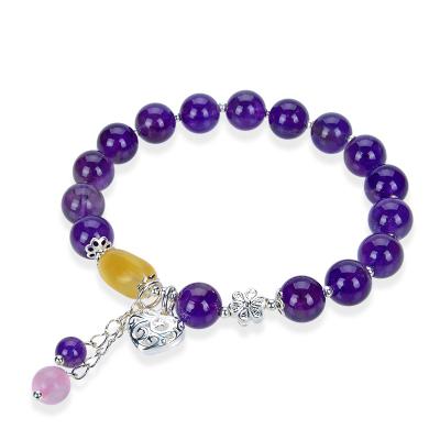 競天珠寶 天然紫水晶手鏈女多寶手串單圈簡約足銀手飾品送女朋友天然水晶甜美可愛送戀人