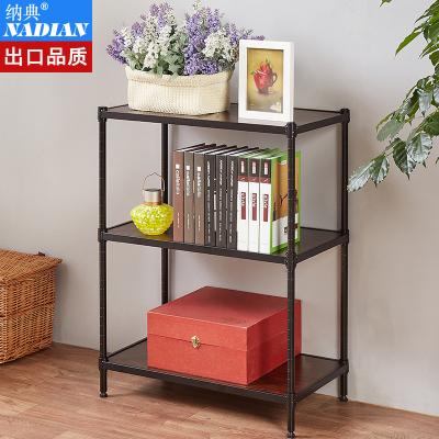 纳典 置物架客厅 实木板结合书架 厨房落地金属储物架 阳台多层花架 卧书房收纳货架子