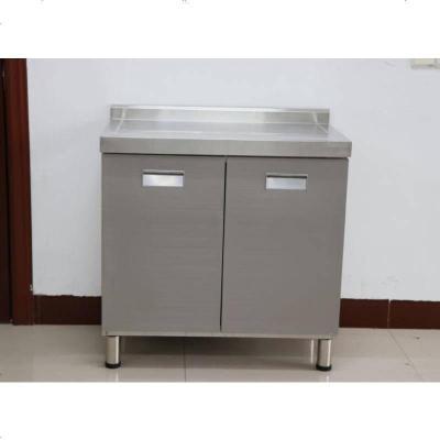 不銹鋼櫥柜定做整體304簡易農村廚房帶水槽灶臺移動式多功能 202雙_無指紋平臺柜
