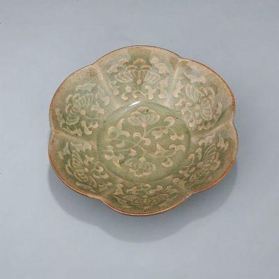 宋 耀州窯 刻劃穿花紋 梅花洗 古董瓷器古玩古瓷器 老貨舊貨收藏
