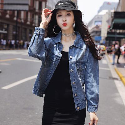 丝柏舍2019秋装女时尚韩版单排扣修身长袖牛仔外套S93T4496A