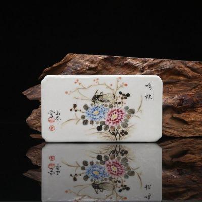 珠山八友 劉雨岑 手繪粉彩蟲草紋 鎮紙 古董瓷器古玩古瓷器 收藏