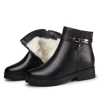 雪地靴女加绒短靴内增高棉鞋真皮马丁靴羊皮毛一体短筒防滑2019季豆乐奇平跟秋冬(冬季)